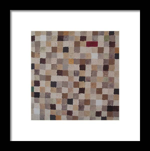 Abstract Squares Desert Colours Framed Print featuring the painting Sandy Squares by Wendy Peat
