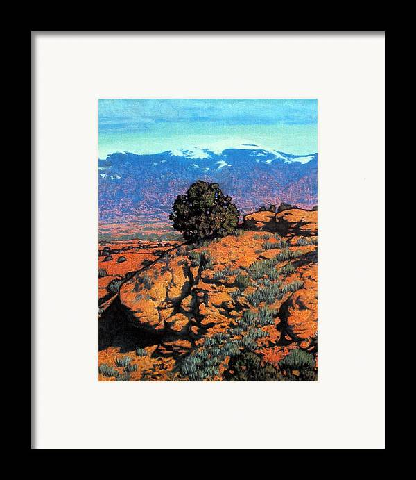 New Mexico Framed Print featuring the painting Sangre Dechristos by Kevin Lawrence Leveque