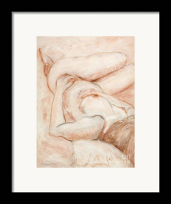 Female Framed Print featuring the drawing Sanguine Nude by Kerryn Madsen-Pietsch