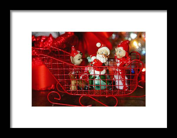 Santa Framed Print featuring the photograph Santa And His Elves by Toni Hopper