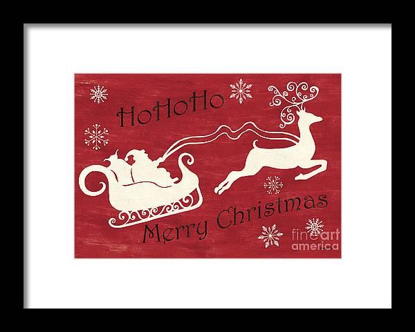 Santa Framed Print featuring the painting Santa and Reindeer Sleigh by Debbie DeWitt