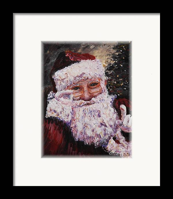 Santa Framed Print featuring the painting Santa Chat by Nadine Rippelmeyer