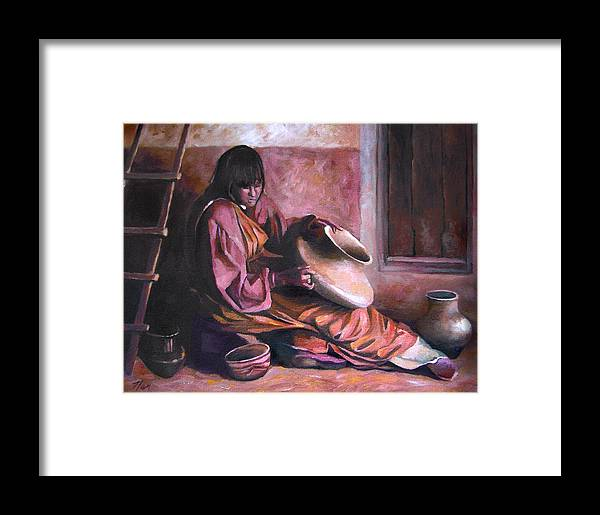 Native American Framed Print featuring the painting Santa Clara Potter by Nancy Griswold