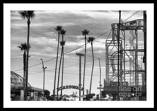 Santa Cruz Boardwalk Black White California  by Chuck Kuhn