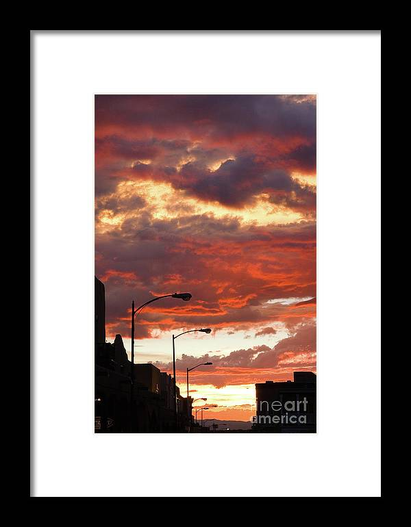 Cityscape Framed Print featuring the photograph Santa Fe At Dusk New Mexico by Julia Hiebaum