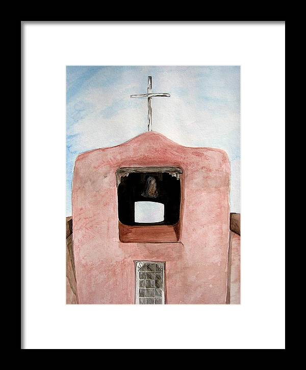 Original Art Framed Print featuring the painting Santa Fe Church by K Hoover