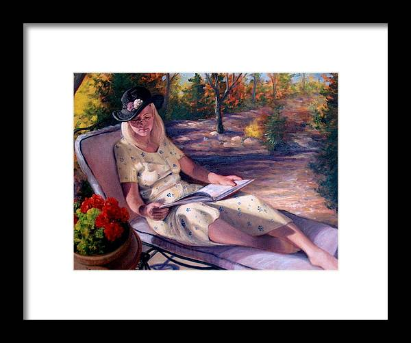 Realism Framed Print featuring the painting Santa Fe Garden 1 by Donelli DiMaria