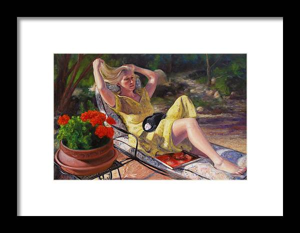Realism Framed Print featuring the painting Santa Fe Garden 4 by Donelli DiMaria