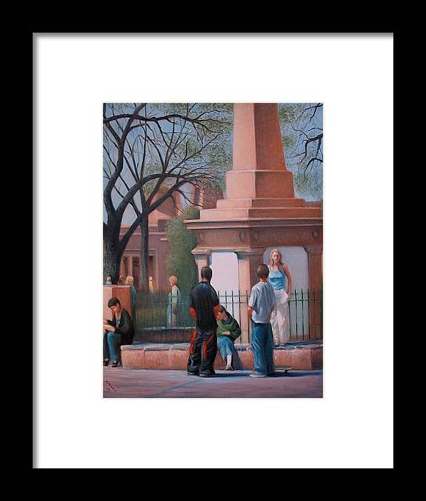 Realism Framed Print featuring the painting Santa Fe Plaza by Donelli DiMaria