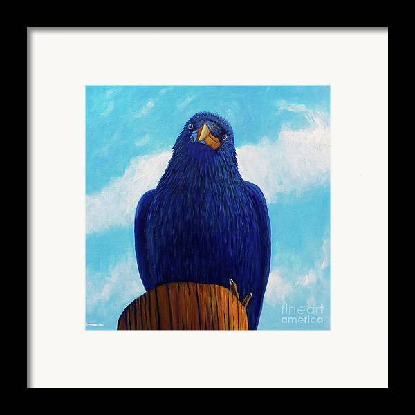 Raven Framed Print featuring the painting Santa Fe Smile by Brian Commerford