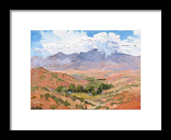 Southwest Scenes Framed Print featuring the painting Santa Fe Summer by Cindy Carrillo