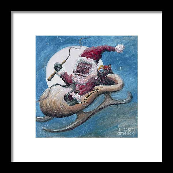 Christmas Framed Print featuring the painting Santa Hog by Nadine Rippelmeyer