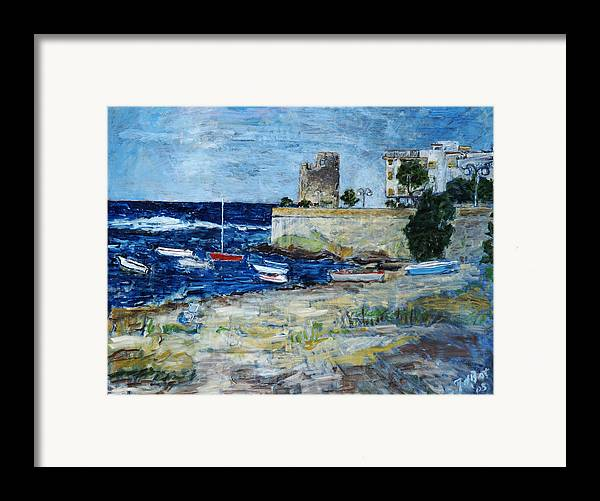 Sea Sky Sardinia Italy Boats Castle Beach Blue Framed Print featuring the painting Santa Lucia by Joan De Bot