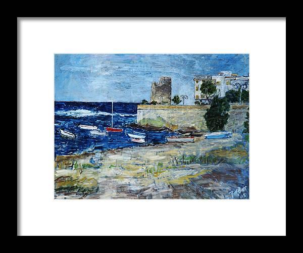 Sea Sky Sardinia Italy Boats Castle Beach Blue Framed Print featuring the painting Santa Lucia by Joan De Bot