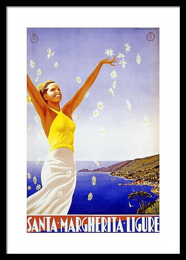Santa Margherita Ligure - Woman Throwing Daisies In The Air  - Retro travel Poster - Vintage Poster by Studio Grafiikka