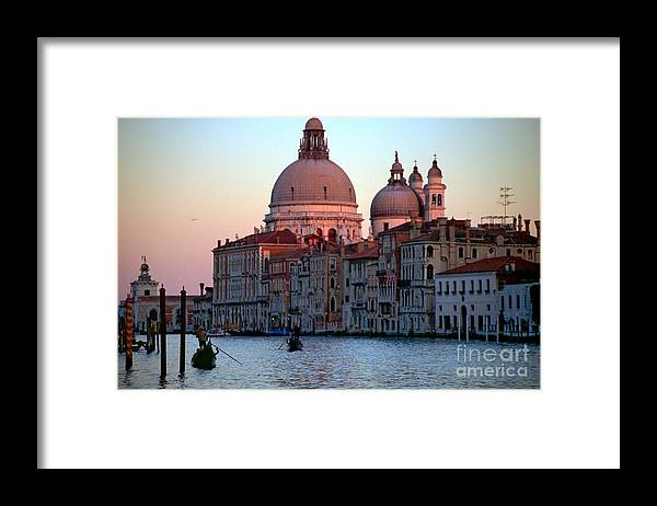 Venice Framed Print featuring the photograph Santa Maria Della Salute On Grand Canal In Venice In Evening Light by Michael Henderson
