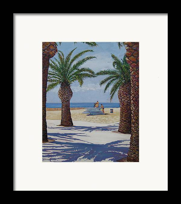 Beach Framed Print featuring the painting Santa Monica Beach by Karen Doyle