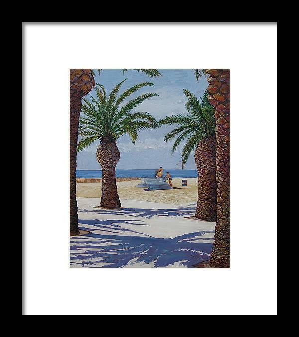 Beach Framed Print featuring the painting Santa Monica Beach by Karen Doyle