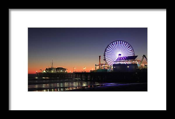 Landscape Framed Print featuring the photograph Santa Monica Pier At Sunset by Frank Freni