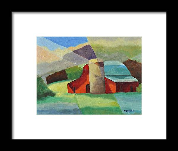 Coloful Abstract Red Barn Framed Print featuring the painting Clayton Winery by Ginger Concepcion