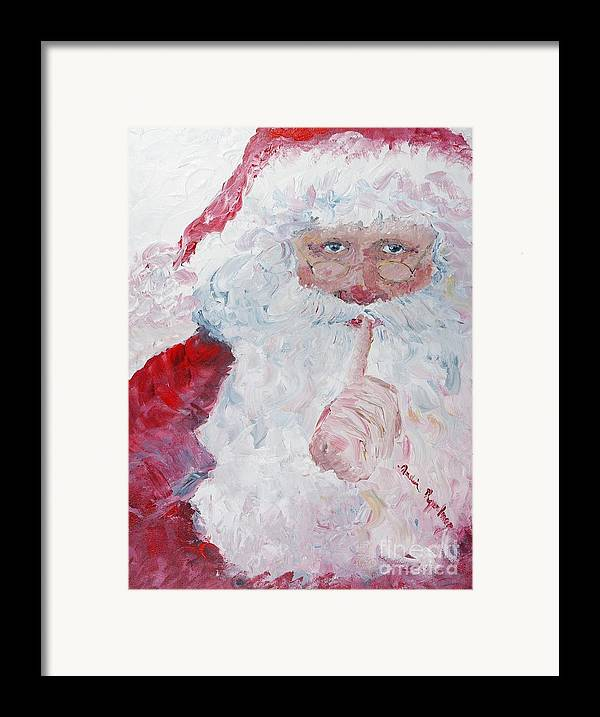 Santa Framed Print featuring the painting Santa Shhhh by Nadine Rippelmeyer