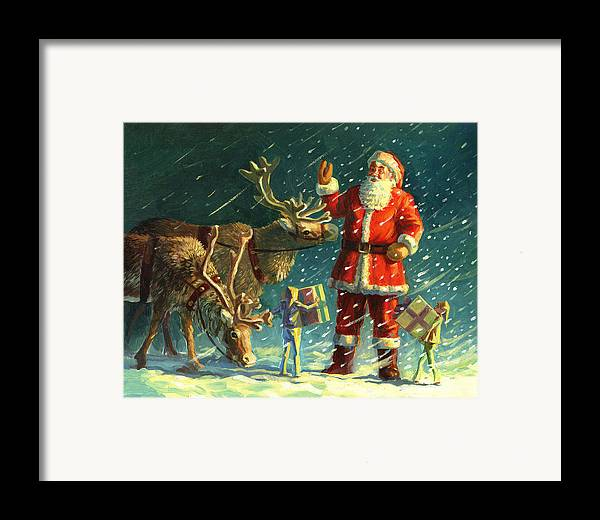 Santa Framed Print featuring the painting Santas And Elves by David Price