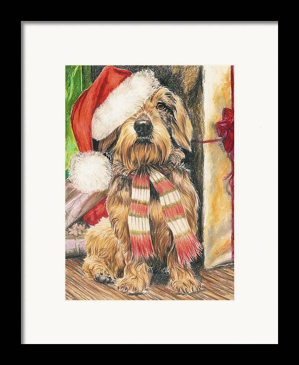 Dogs Framed Print featuring the drawing Santas Little Yelper by Barbara Keith