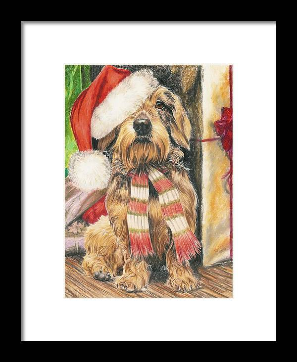 Hound Group Framed Print featuring the drawing Santas Little Yelper by Barbara Keith