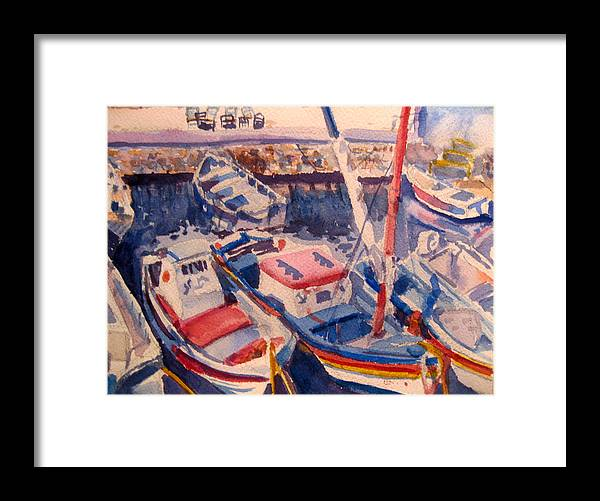 Boats Framed Print featuring the painting Santorini Boats Study by Joyce Kanyuk