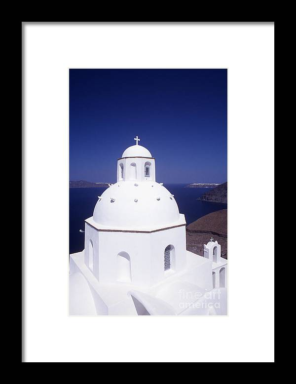 Cyclades Framed Print featuring the photograph Santorini Church by Steve Outram