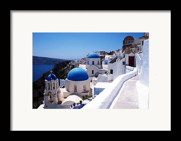 Santorini Framed Print featuring the photograph Santorini Churches by Paul Cowan