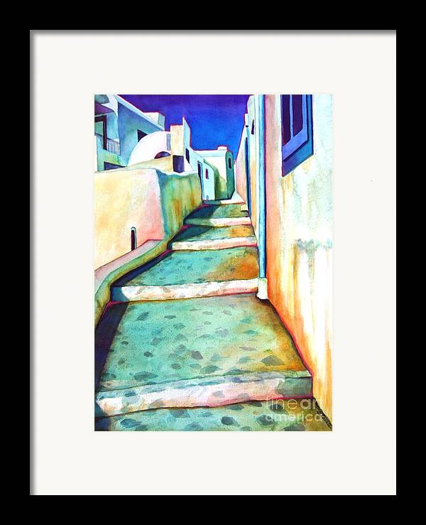 Santorini Framed Print featuring the painting Santorini Steps by Gail Zavala