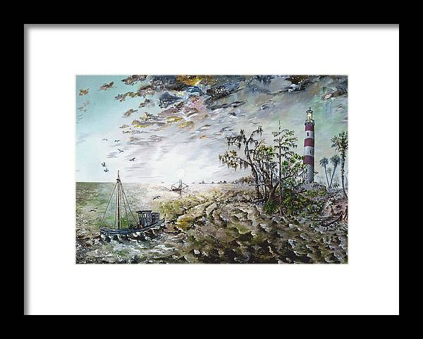 Lighthouse Framed Print featuring the painting Sapelo Island by Richard Barham