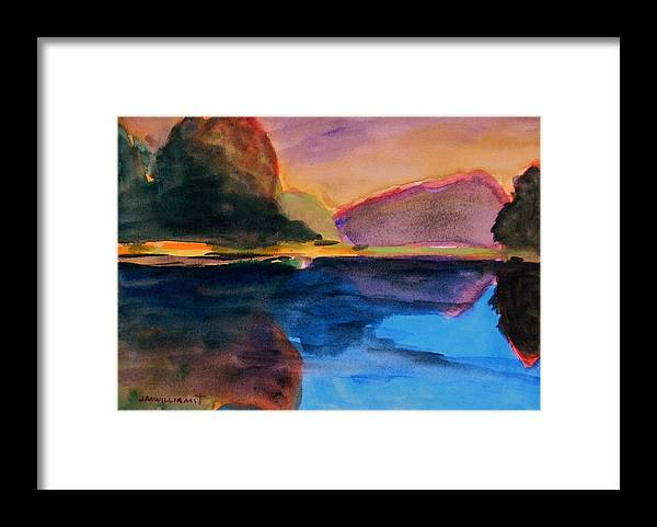 Landscape Framed Print featuring the painting Sapphire Blue Water by John Williams