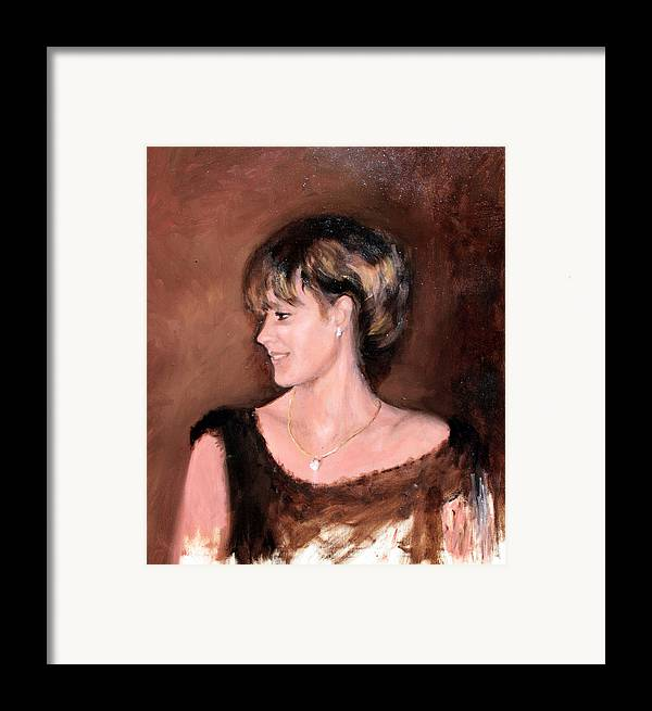 Portrait Framed Print featuring the painting Sara by Mario Zampedroni