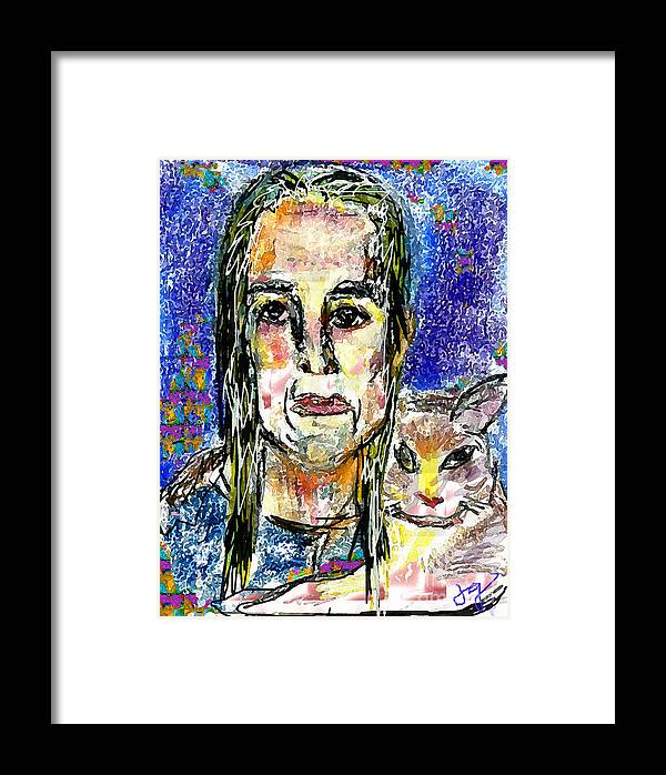Woman Framed Print featuring the mixed media Sarah And Shai by Joyce Goldin