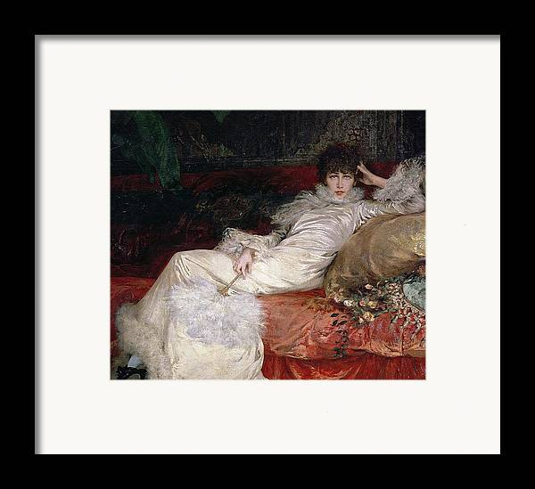 Sarah Bernhardt (1844-1923) 1876 (oil On Canvas) Framed Print featuring the painting Sarah Bernhardt by Georges Clairin