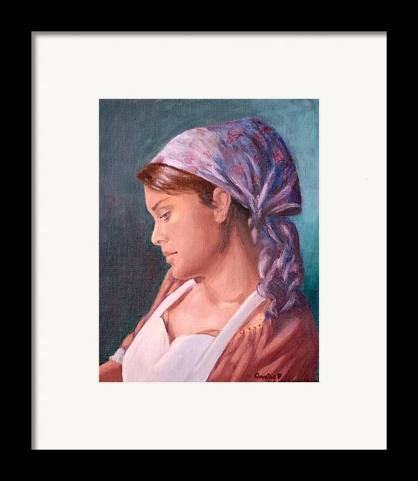 Maid Framed Print featuring the painting Sarah The Kitchen Maid After Johnnie Liliedahl by Quwatha Valentine