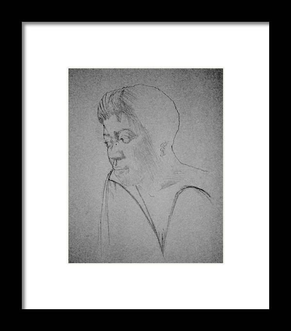 Maliksart Framed Print featuring the drawing Sarah Vaughn by Malik Seneferu