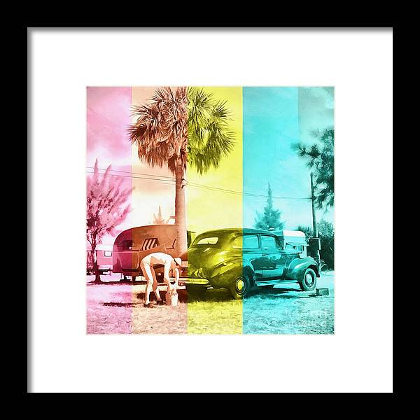 Florida Framed Print featuring the painting Sarasota Series Wash The Car by Edward Fielding