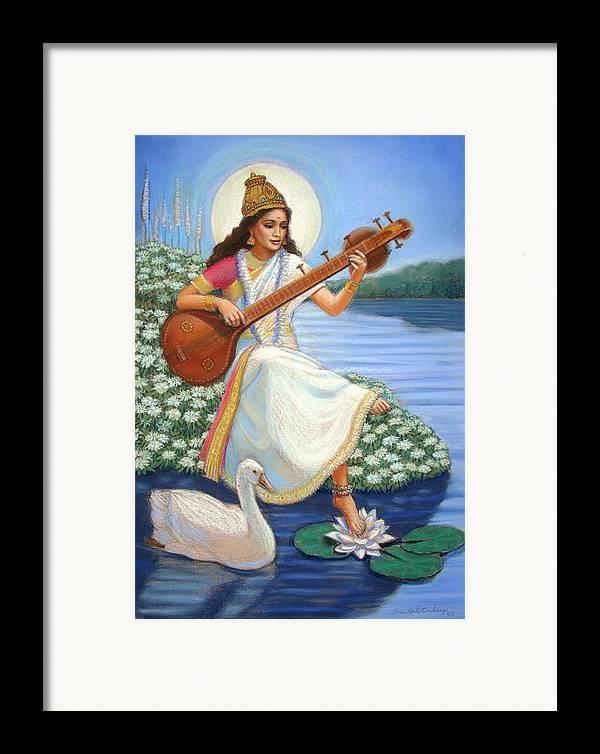 Hindu Goddess Framed Print featuring the painting Sarasvati by Sue Halstenberg