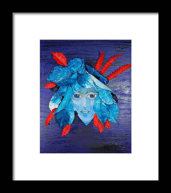 Leaves Framed Print featuring the mixed media Sassy Lady Blue by Charla Van Vlack