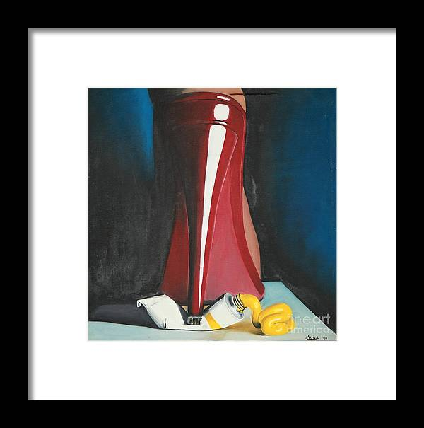 Sassy Shoe Framed Print featuring the painting Sassy Shoe by Jacqueline Athmann