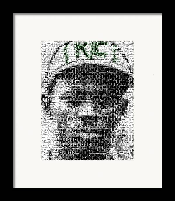 Negro Leagues Framed Print featuring the mixed media Satchel Paige Kc Monarchs African American Mosaic by Paul Van Scott