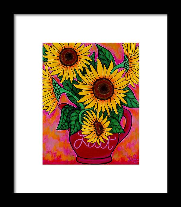 Sunflowers Framed Print featuring the painting Saturday Morning Sunflowers by Lisa Lorenz