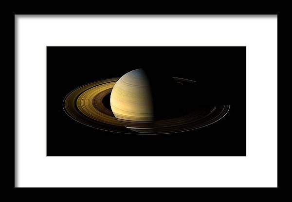 Pia11667 Framed Print featuring the photograph Saturn Enhanced by Weston Westmoreland
