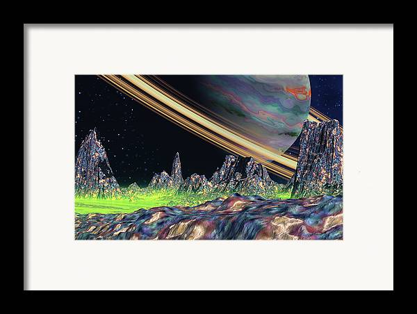 David Jackson Saturn View Alien Landscape Planets Scifi Framed Print featuring the digital art Saturn View by David Jackson