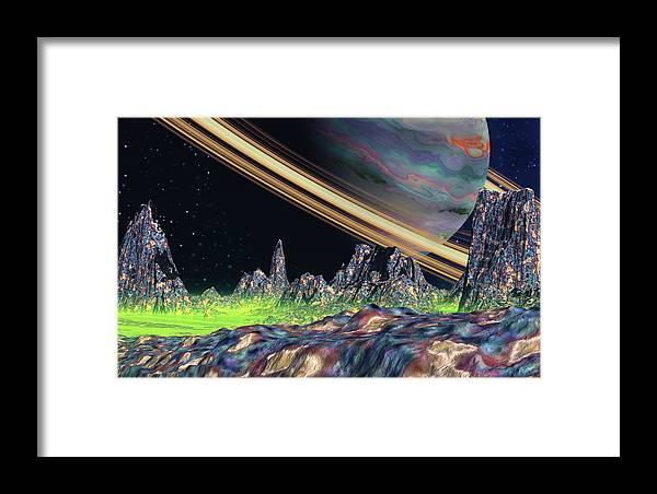 David Jackson Saturn View Alien Landscape Planets Scifi Framed Print featuring the digital art Saturn View by David Jackson