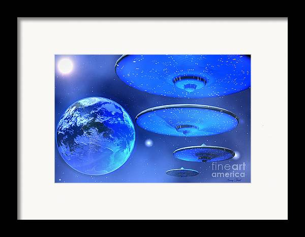 Space Art Framed Print featuring the painting Saucers by Corey Ford