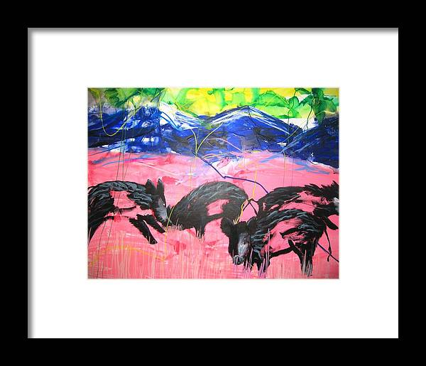 Wildpig Framed Print featuring the painting Sauerei II by Eckhard Besuden